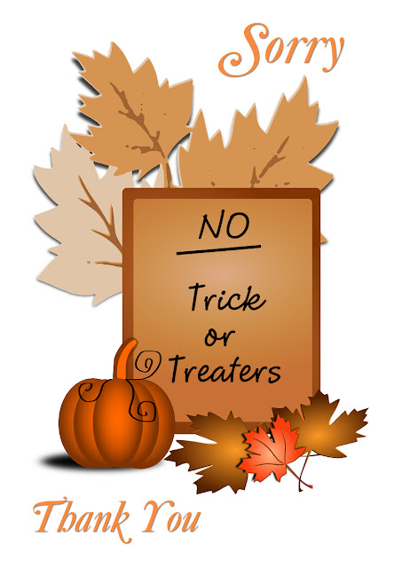 no trick or treat signs printable