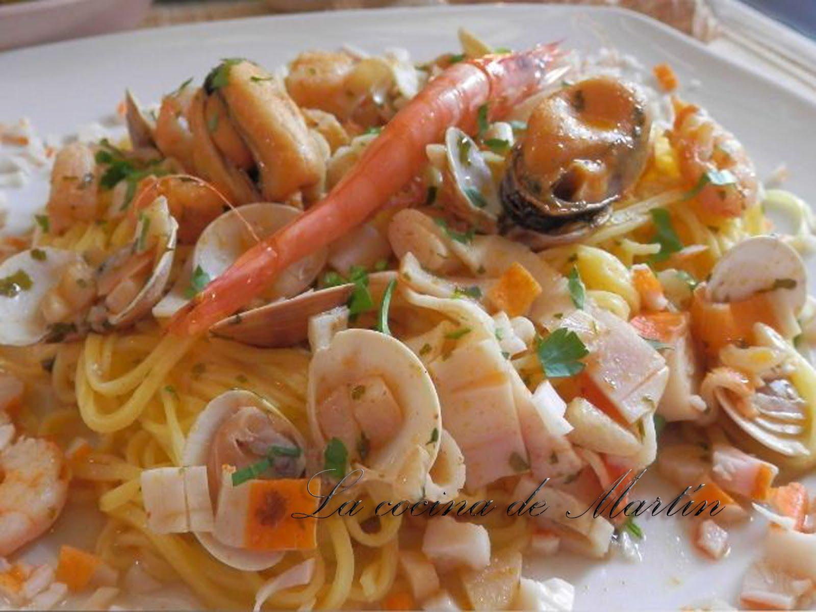 La cocina de mart n espaguetis a la marinera - Espaguetis con chirlas ...