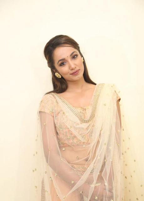 Tejaswi Madivada  in Ligh Peach Zardosi and Sequin Lehenga by Mrunalini Rao