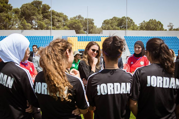 Queen Rania of Jordan met with female football players in the Under 17 Women's National Football Team