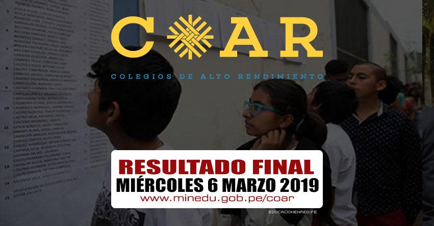 COAR 2019: Resultado Final se publicará hoy Miércoles 6 de Marzo (Lista de Ingresantes a Colegios de Alto Rendimiento) MINEDU - www.minedu.gob.pe
