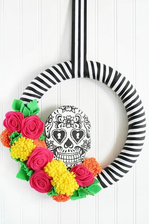 sugar skull wreath halloween