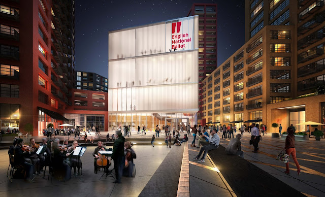 Artists impression of English National Ballet's new home in Canning Town, London City Island