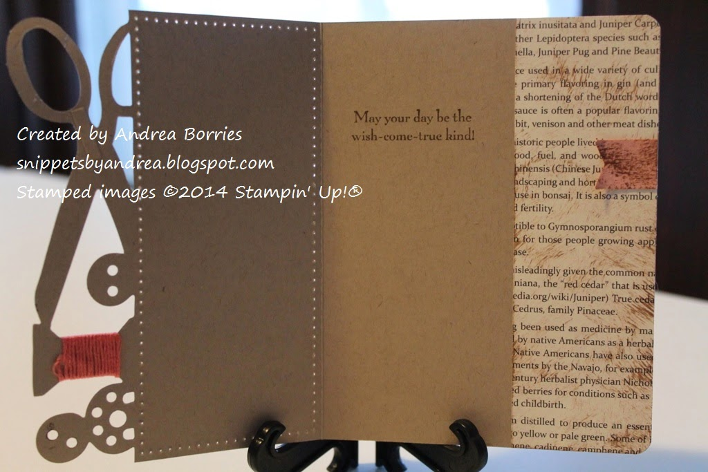 Photo showing the inside of the card with the stamped birthday sentiment and the right side lined with newsprint-style paper.