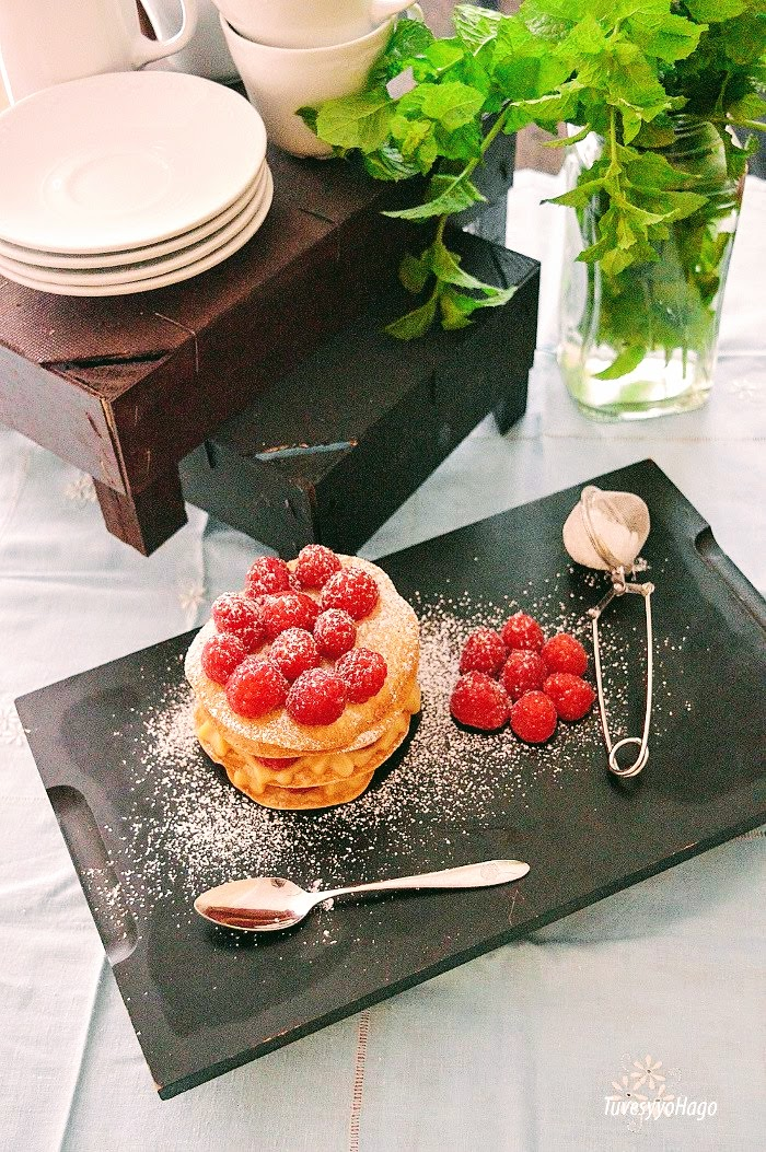 Milhojas de Frambuesas y Crema de Almendras - TuvesyyoHago