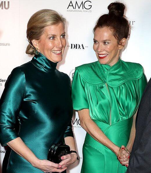 The Countess of Wessex wore a new silk-satin midi dress by Galvan London. BAFTA nominated director Julian Jarrold