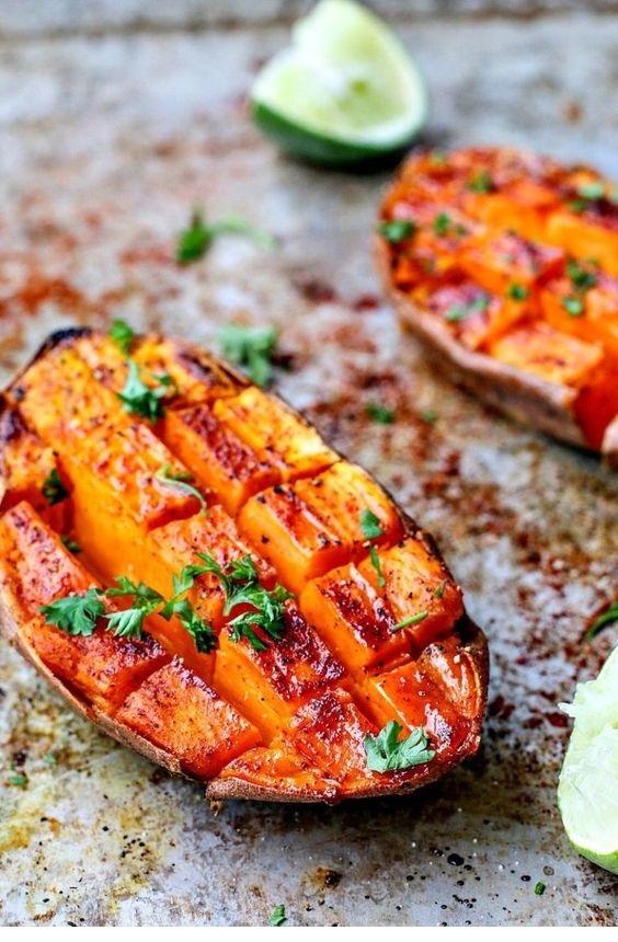 Chili + Honey Roasted Sweet Potatoes With Lime Juice