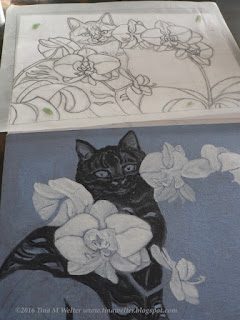 Final drawing and painting in progress. ©2016 Tina M. Welter  Black cat and white orchids.