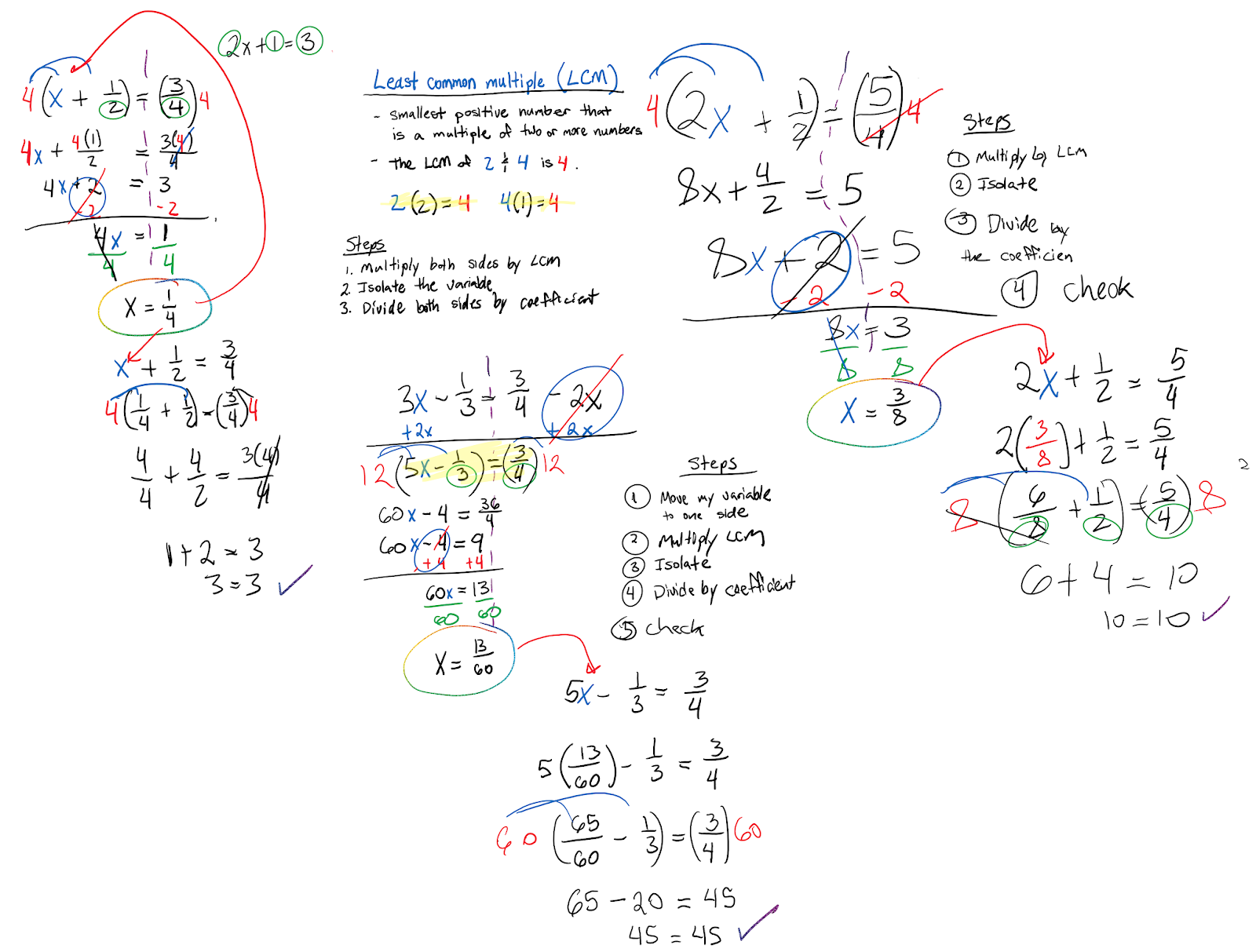 Equations With Variables On Both Sides With Fractions
