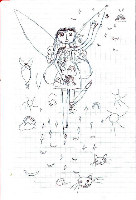 детский рисунок фея Счастья и чеширские коты, проект 100 дней
