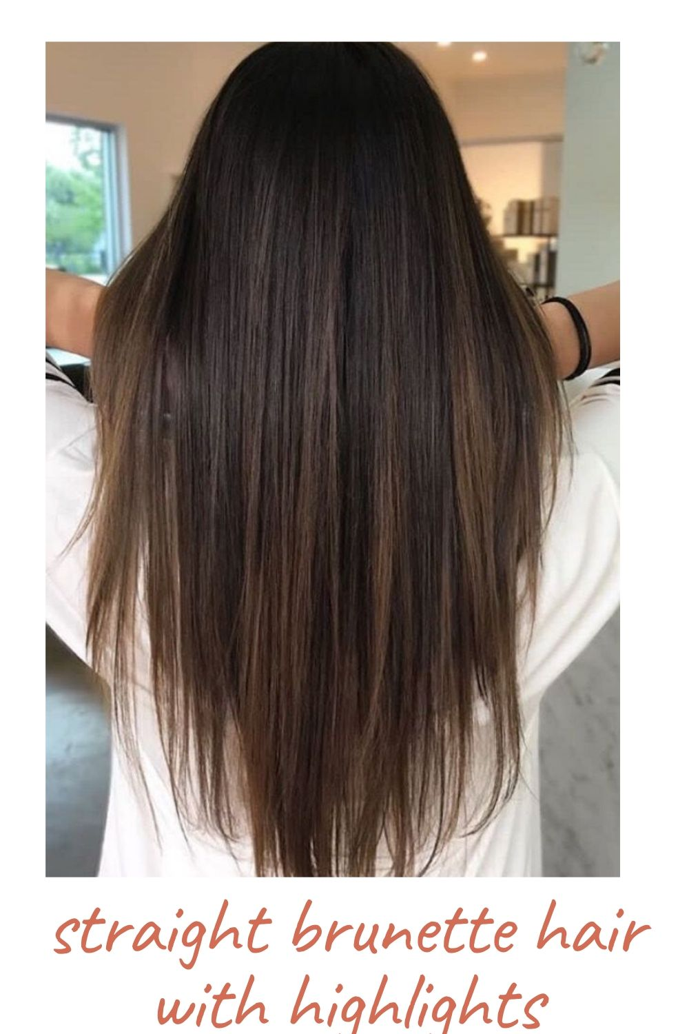 straight brunette hair with highlights