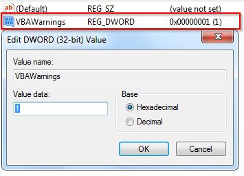 set warnings off access vba code