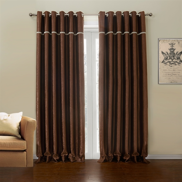 Polyester Blackout Curtain Dark Brown Custom Curtain - 633 ( One Panel )