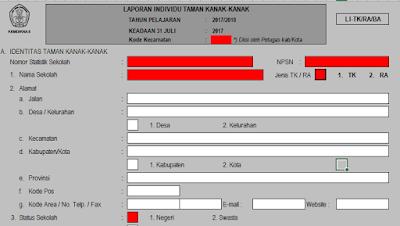 Format Lembar Individu atau LI RA dan MI