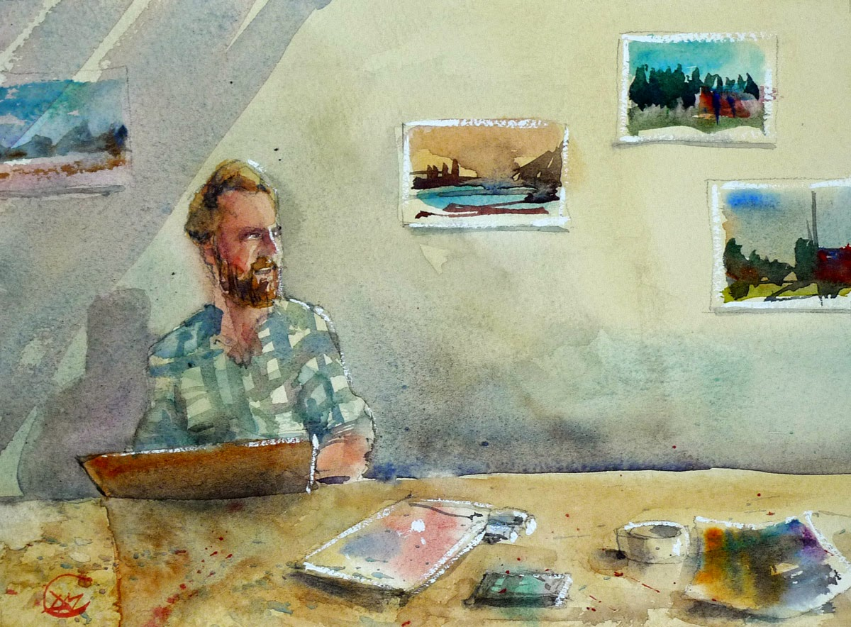 Watercolour of Swedish artist by David Meldrum