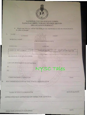 Samples of nysc relocation and redeployment letter