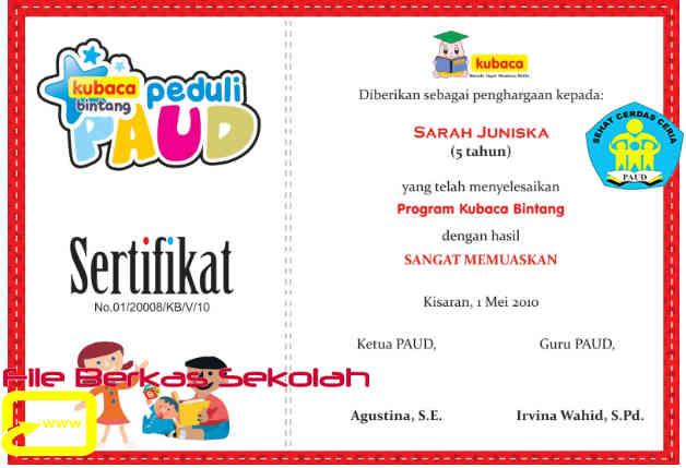 Download Contoh Sertifikat LULUS PAUD Fomat Word Keren
