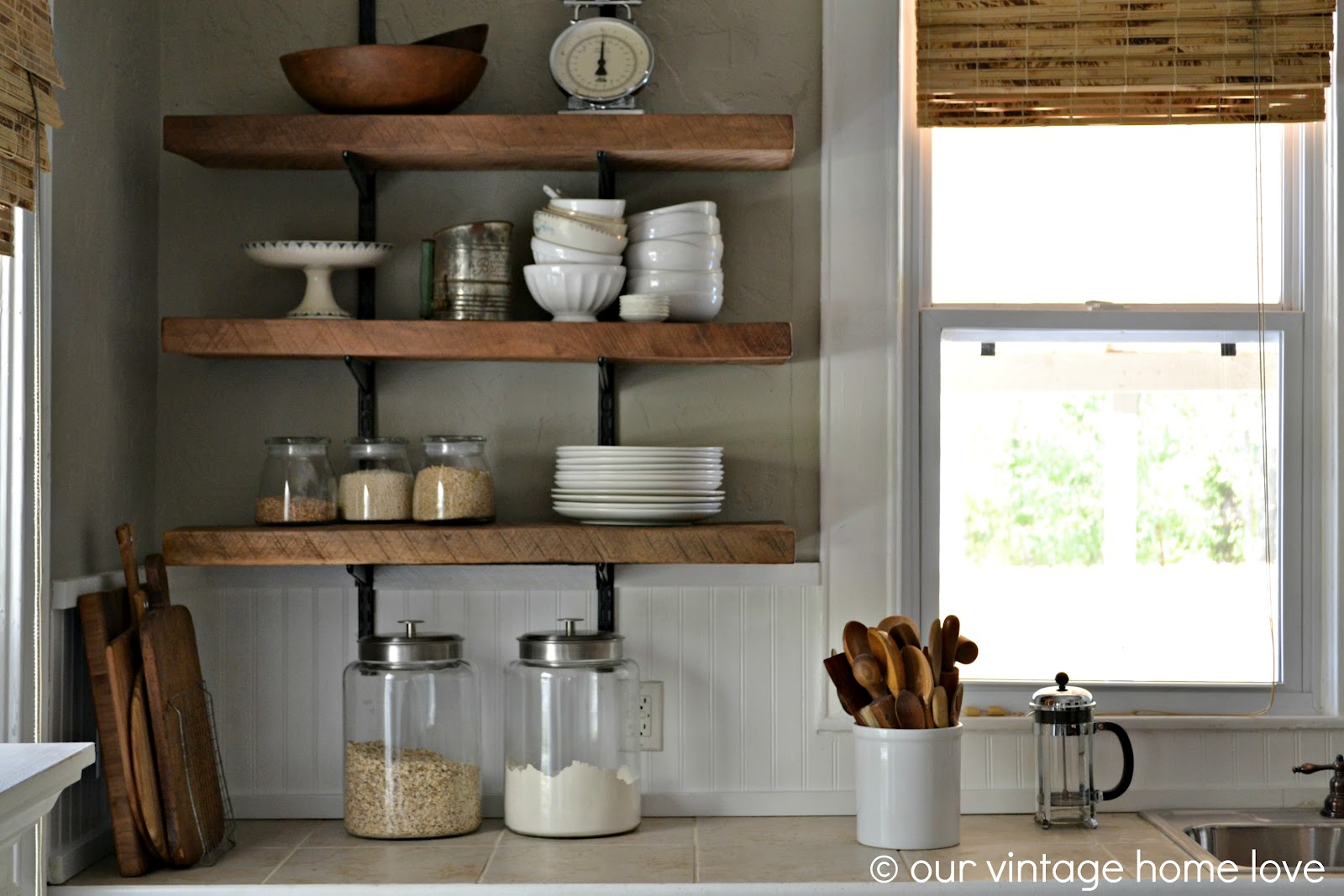 vintage home love  Reclaimed Wood Kitchen Shelving   Reveal