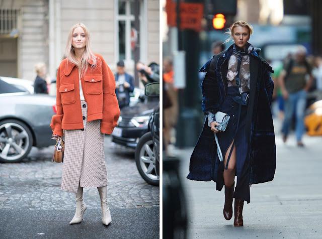 Девушки в пальто асимметричного экстравагантного кроя