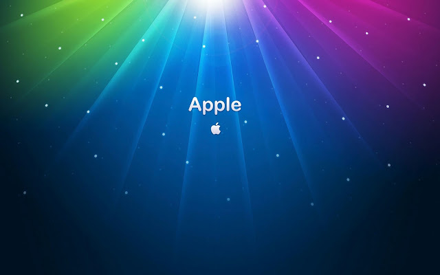 Blauwe wallpaper met Apple tekst en logo