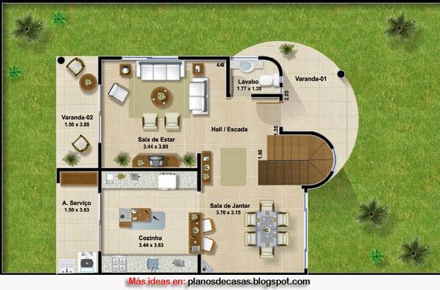 Plano de casa moderna de 161 m2 planos de casas gratis y for Casa moderna de 50 m2