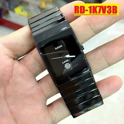 Đồng hồ mặt vuông Rado 1K7V3B dây đá ceramic