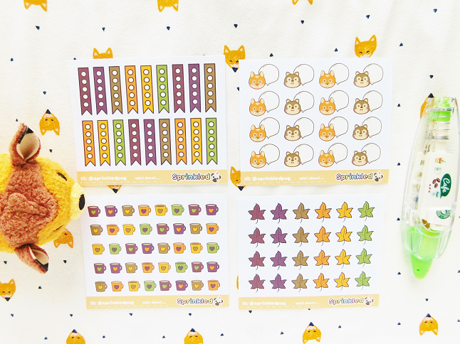 Sprinkle Pug Autumn Stickers