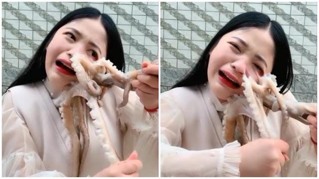 Nữ streamer suýt rách mặt khi quay clip ăn bạch tuộc sống