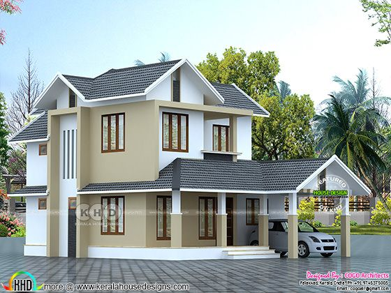 2400 sq-ft 5 bedroom sloping roof home