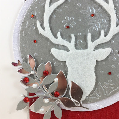 red white silver deer christmas card 2018 SapiDesign