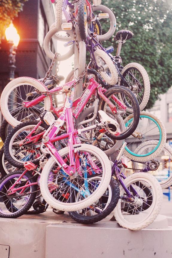 2 days in Portland bike installation downtown