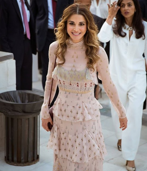 Queen Rania of Jordan attends the the opening of Amman Design Week at Ras Al Ain Gallery and Hangar in Amman