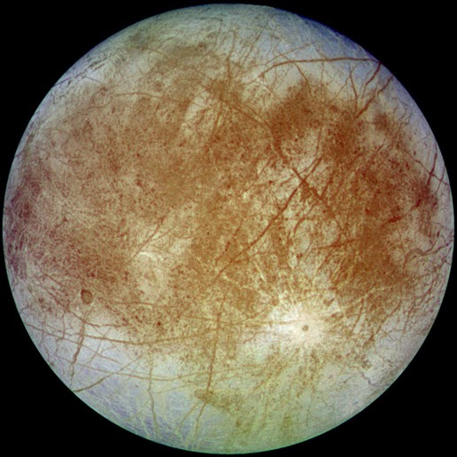 The image of Europa taken by the Galileo spacecraft from a distance of about 677,000 km.