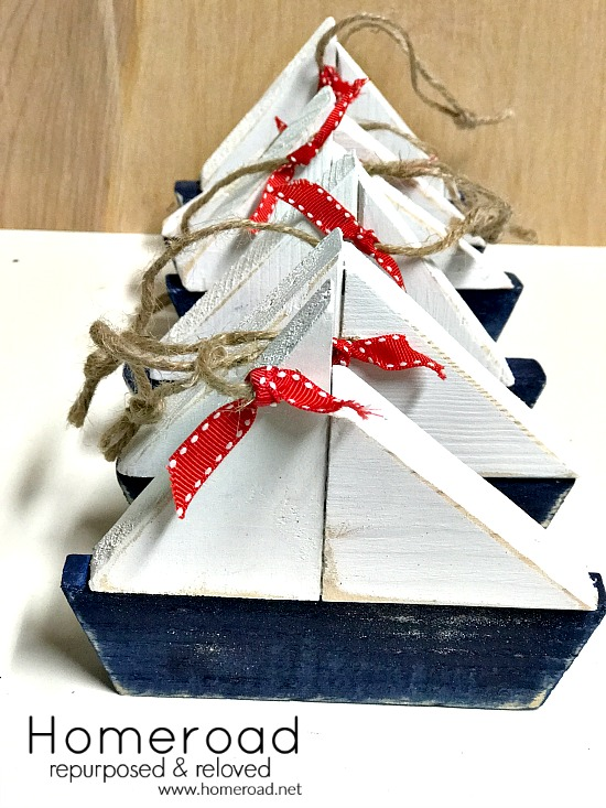 Wooden sailboat Christmas ornaments