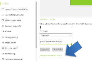 definições de tela do windows 10