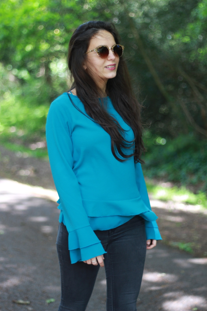 Teal Primark Ruffle Sleeve Top Peacocks Sunglasses