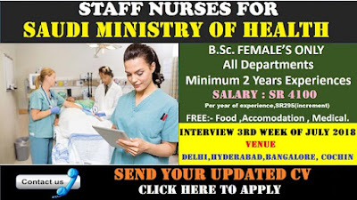 Saudi Ministry of Health Direct Recruitment -2018 Starting at Delhi.Apply Today