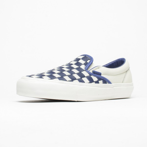 b4afd2045942 Vans Vault OG Classic Slip-On LX (Woven Leather) 50th Checkerboard White.  VN000UDFIM2