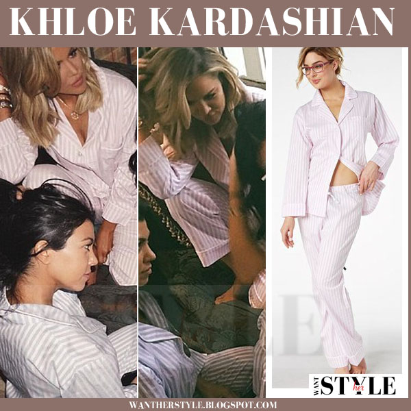 b45fadc044 Khloe Kardashian in striped bedhead pajama set at Kim s baby shower what  she wore