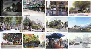 シティスケープ水彩画 Cityscape Watercolor