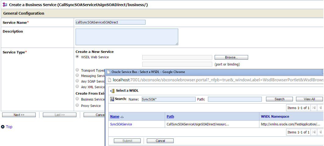 OSB to SOA Using SOA Direct Create Business service