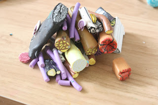 Old polymer clay canes resigned to the scrap pile