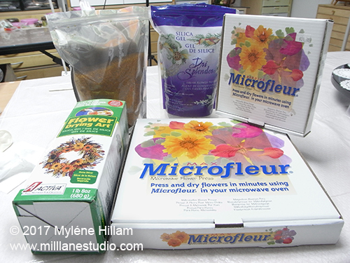 Flower drying equipment: silica gel and the Microfleur microwave flower press in two sizes.