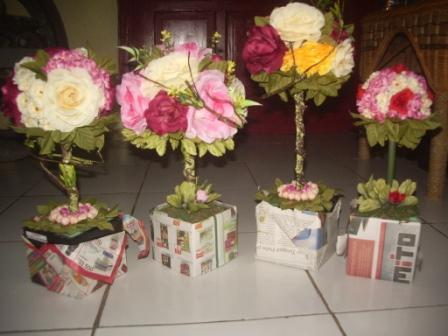 Rangkaian Bunga Mawar Bulat Bunga Plastik Eksotis