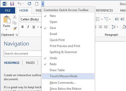 Chuyển sang chế độ cảm ứng trên Office 2013