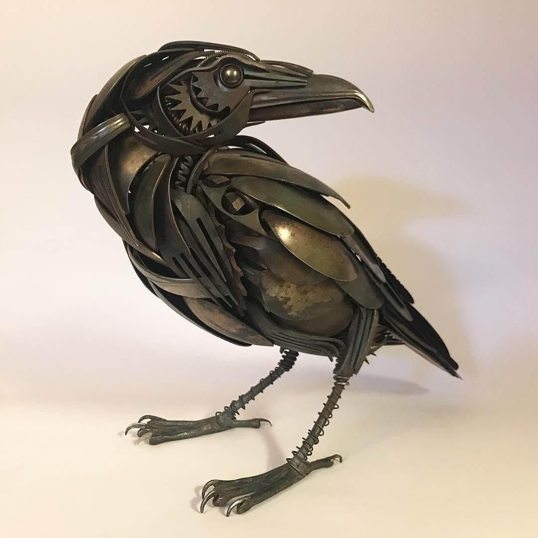 05-Raven-Matt-Wilson-Recycled-Animal-Cutlery-Sculptures-www-designstack-co