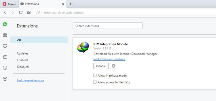 Mudah Memasang Extensi IDM Pada Opera Browser