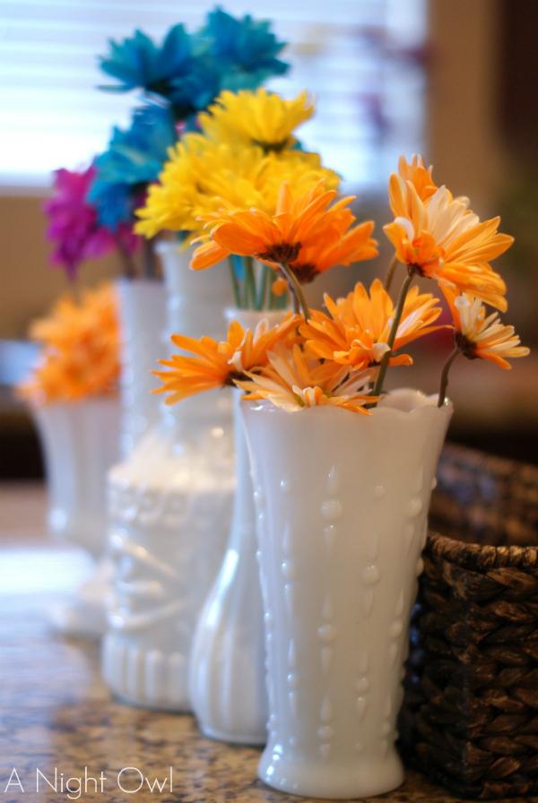 Vintage Milk Glass Spring Vignette