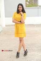 Actress Poojitha Stills in Yellow Short Dress at Darshakudu Movie Teaser Launch .COM 0068.JPG