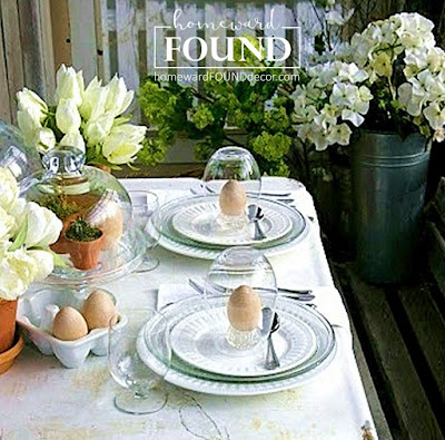 create a simple white tablescape for spring using what you have on hand with ideas from homewardFOUND decor